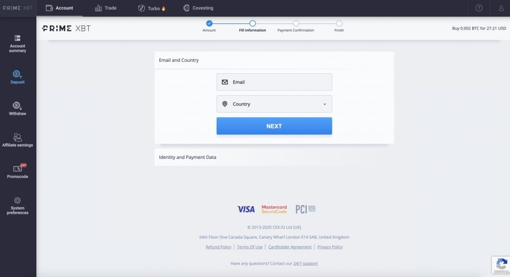 How To Fund Your PrimeXBT Account By Credit or Debit Card - 2 step 1024x556