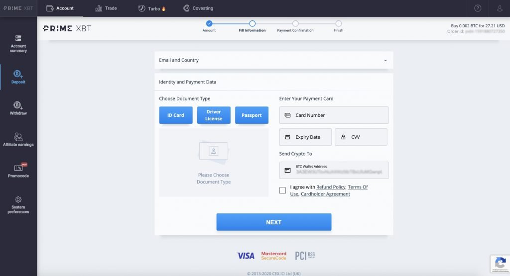 How To Fund Your PrimeXBT Account By Credit or Debit Card - img 6946 1024x555