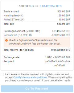 PrimeXBT Partners With Coinify To Make Buying Bitcoin Even Easier - Coinify 4 Transaction details 240x300