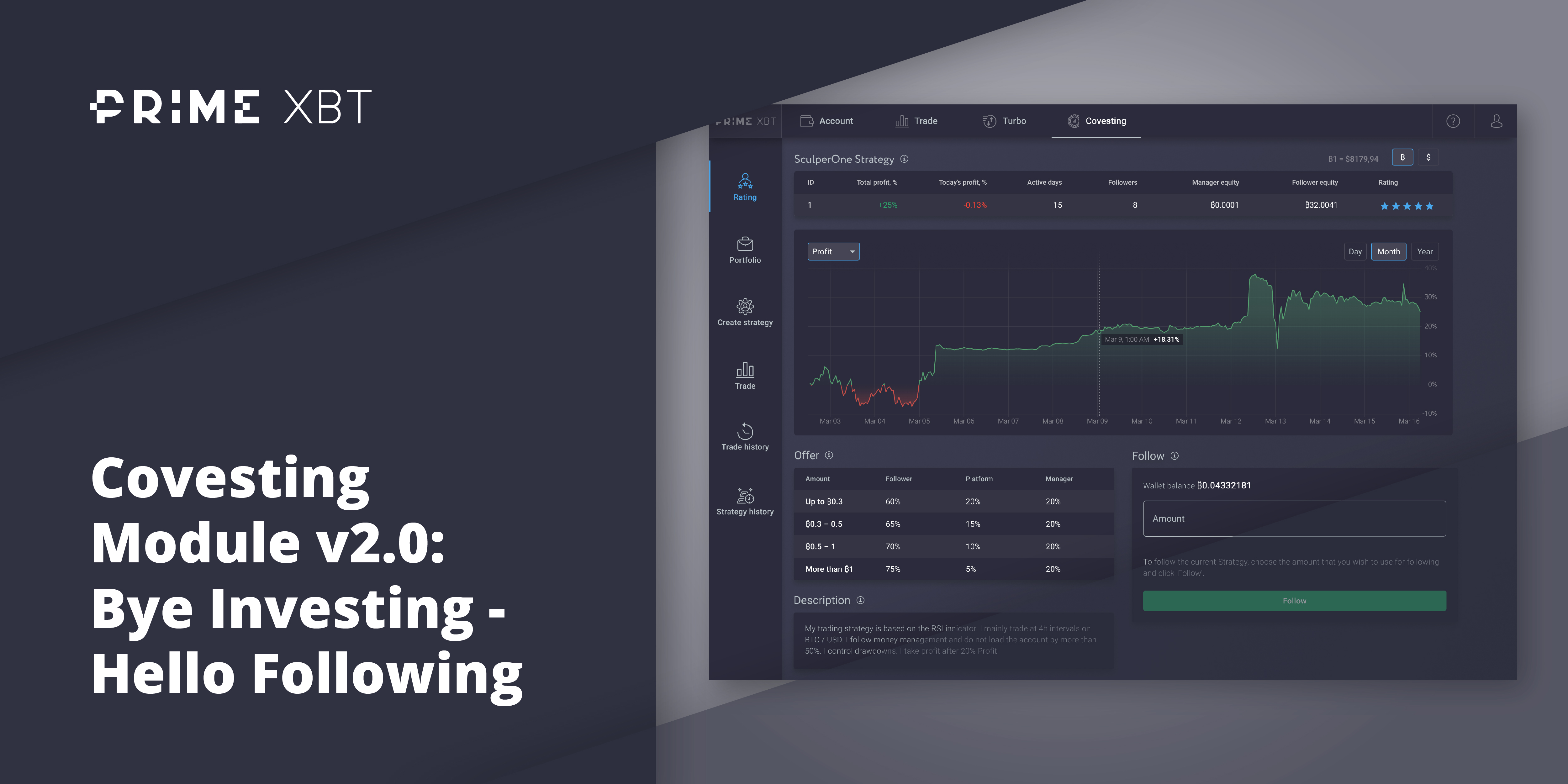 Covesting Module v2.0: Bye Investing - Hello Following